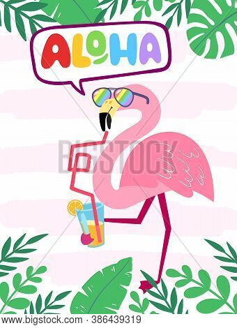 Tropical Concept With Pink Flamingos. Summer Design For Postcards, Posters, Fabrics, Prints. Modern