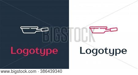 Logotype Line Frying Pan Icon Isolated On White Background. Fry Or Roast Food Symbol. Logo Design Te
