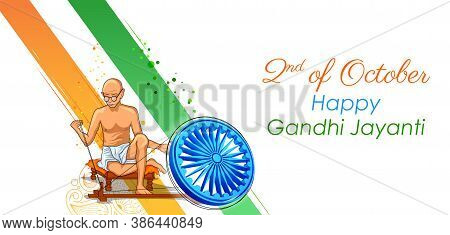 Illustration Of India Background With Nation Hero And Freedom Fighter Mahatma Gandhi Popularly Known