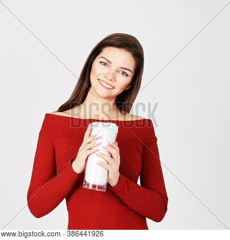 Beautiful Girl With Coffee Tumbler. Takeaway Drink Cup. Student Female Hold Reusable Tea Bottle. Peo