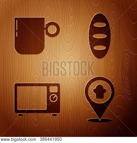 Set Chef Hat With Location, Coffee Cup, Microwave Oven And Bread Loaf On Wooden Background. Vector