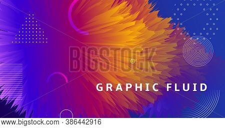Blue Wave 3d Liquid Shapes. Vector Bright Cover. Fluid Graphic Concept. Colorful Geometric Motion. 3
