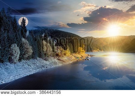 Day And Night Time Change Concept Above The Mountain Lake In Autumn Season. Beautiful Countryside Sc