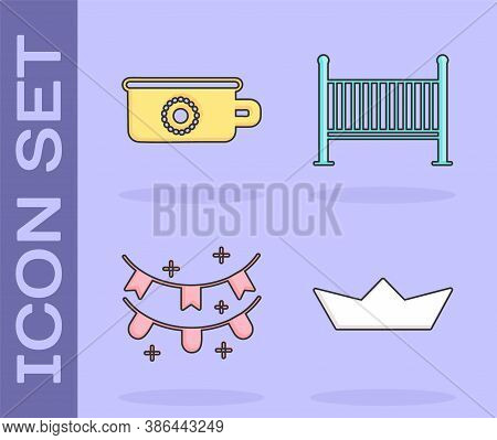 Set Folded Paper Boat, Baby Potty, Carnival Garland With Flags And Baby Crib Cradle Bed Icon. Vector