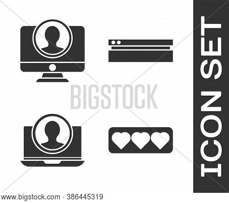 Set Like And Heart, Create Account Screen, Create Account Screen And Video Game Console Icon. Vector
