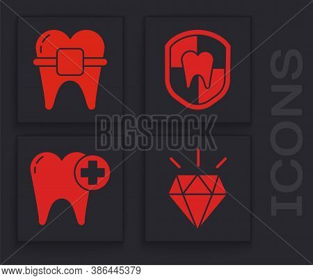 Set Diamond Teeth, Teeth With Braces, Dental Protection And Tooth Icon. Vector