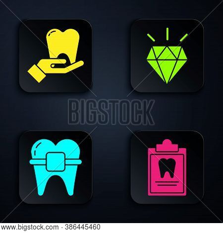 Set Clipboard With Dental Card, Tooth, Teeth With Braces And Diamond Teeth. Black Square Button. Vec