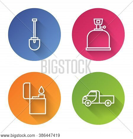 Set Line Shovel, Camping Gas Stove, Lighter And Pickup Truck. Color Circle Button. Vector