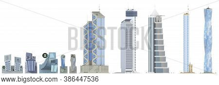 10 Various Angles Views Fine Detailed Renders Of Fictional Design Hi-tech Tall Buildings With Blue C