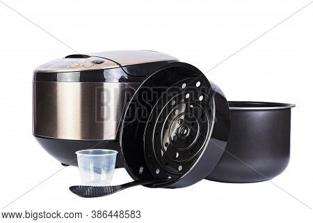 Automatic Multicooker And Accessories Set Isolated On A White Background. Modern Cooking Appliance A