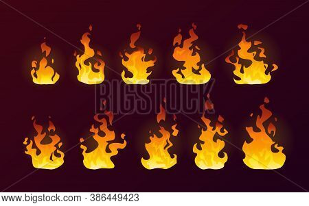 Fire Flames Burning Icons, Isolated Cartoon Flat Set On Vector Background. Realistic Dire Flames Of