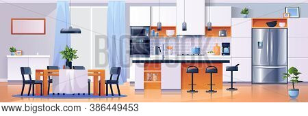 Kitchen Interior Background, Modern Home Furniture, Vector. Kitchen Dining Room Table And Appliances