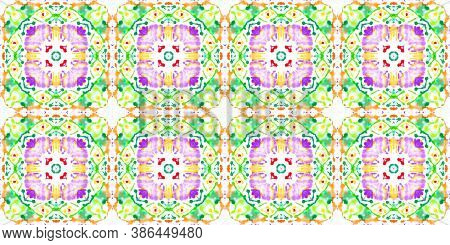 Spanish Porcelain Design. Colorful Summer Squares. Ethnicity Wallpaper. Ornamental Tribal Trendy Tex