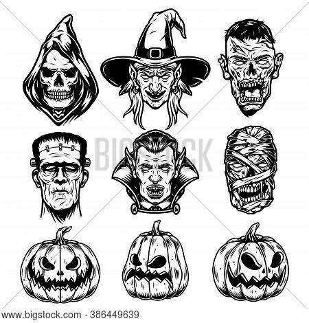 Halloween Characters Vintage Set With Grim Reaper Witch Zombie Frankenstein Vampire Mummy Heads And