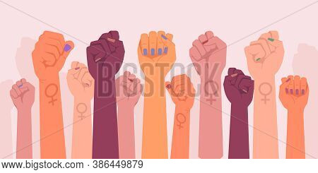 Feminism Fists, Protest And Revolution, Feminists Fight, Vector Cartoon Flat Hands. Feminism Activis