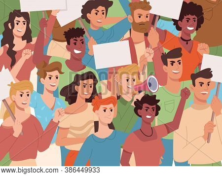 People On Protest, Crowd Holding Protest Banners And Placards, Vector Background. Angry Protesters A