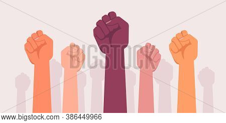 Fist Protests Hands, Power And Revolution Fight, Vector Rebel Victory Symbol. Protesters Raised Hand