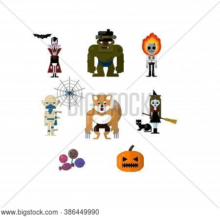Cartoon flat vector set of Halloween Inspired character. Dracula and bat, Zombie, Skull ghost, Mummy and spider web, Werewolf, Witch and black cat, Treats and Pumpkin.