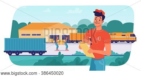 Delivery Logistics By Train, Parcels Shipping, Loading Or Unloading By Workers, Vector Flat Design.
