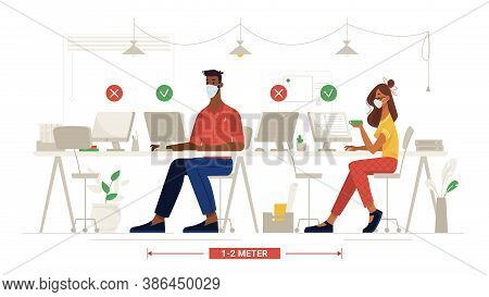 Office Social Distance, People In Masks At Work, Workplace Safety Rules, Vector Flat. Colleagues Sit