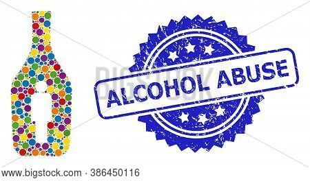 Vibrant Collage Alcoholic Person, And Alcohol Abuse Corroded Rosette Watermark. Blue Stamp Contains