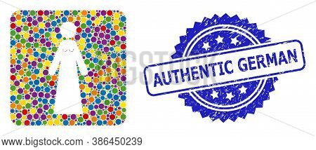 Colorful Mosaic Bride, And Authentic German Unclean Rosette Seal Imitation. Blue Stamp Seal Contains
