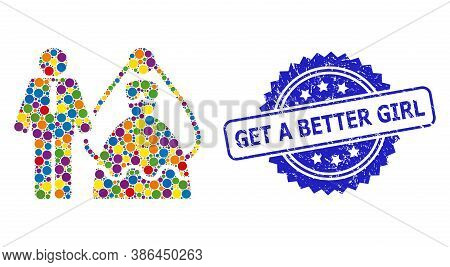 Bright Colored Mosaic Bride And Groom, And Get A Better Girl Unclean Rosette Stamp Seal. Blue Stamp
