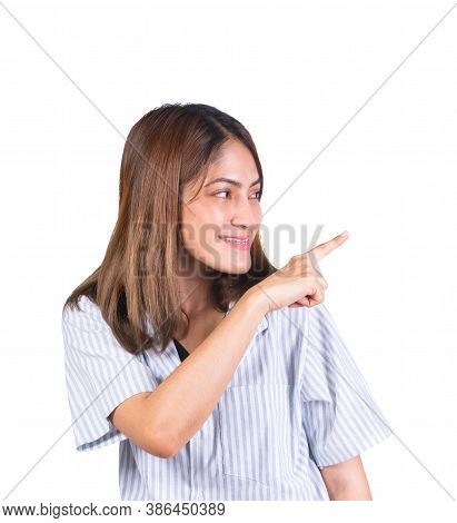 Woman Pointing Finger Up Portrait On White Background