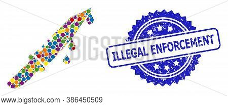 Vibrant Collage Blood Knife, And Illegal Enforcement Unclean Rosette Seal Imitation. Blue Stamp Seal