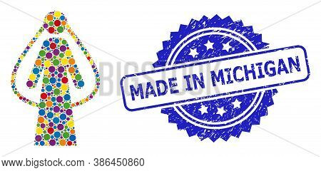 Multicolored Collage Bride, And Made In Michigan Dirty Rosette Seal Imitation. Blue Seal Has Made In