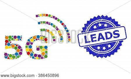 Colorful Collage 5g Symbol, And Leads Corroded Rosette Seal Print. Blue Seal Has Leads Text Inside R