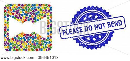 Colored Collage Bow Tie, And Please Do Not Bend Corroded Rosette Seal. Blue Stamp Seal Includes Plea