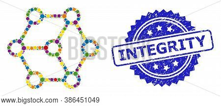 Colorful Collage Blockchain, And Integrity Textured Rosette Stamp Seal. Blue Stamp Seal Includes Int