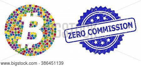 Colored Collage Bitcoin Coin, And Zero Commission Corroded Rosette Stamp Seal. Blue Stamp Includes Z