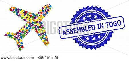 Bright Colored Mosaic Airplane, And Assembled In Togo Grunge Rosette Seal Imitation. Blue Seal Inclu