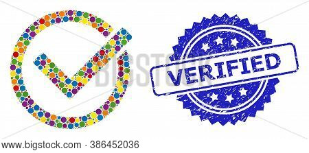 Colorful Mosaic Accept Tick, And Verified Textured Rosette Seal Print. Blue Stamp Seal Includes Veri