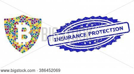 Colored Mosaic Bitcoin Protection, And Insurance Protection Corroded Rosette Seal Print. Blue Seal C