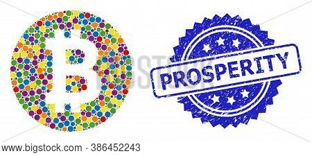 Bright Colored Collage Bitcoin Coin, And Prosperity Scratched Rosette Stamp. Blue Stamp Has Prosperi