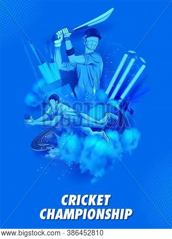 Illustration Of Batsman Player Playing Cricket Championship Sports