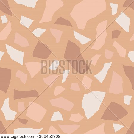 Terrazzo Flooring, Seamless Pattern Texture. Abstract Vector Background Design For Print On Floor, W