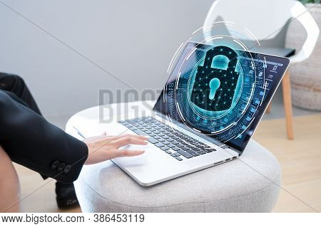 Press Enter Button On The Computer. Key Lock Security System Abstract Technology World Digital Link