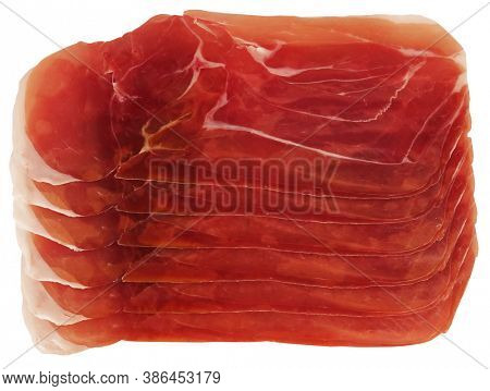 Dried meat delicious prosciutto slices isolated on white background