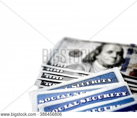 Social Security Cards for identification and retirment USA with cash money