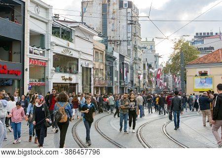 Istanbul, Turkey - October 6, 2019: Tourists Walking On Taksim Square And Istiklal Street In Istanbu