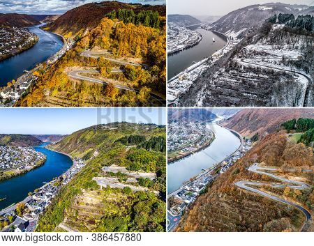 Seasons Concept Summer Winter Fall Spring Aerial View Of The Mosel Village Brodenbach In Germany On