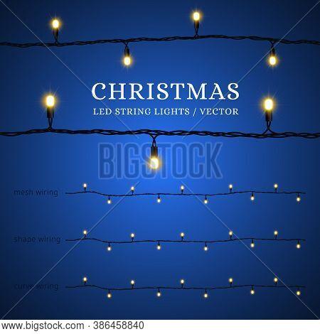 Led Christmas Lights. Decorative Element For Decorating Joyful Holidays Merry Christmas And Happy Ne