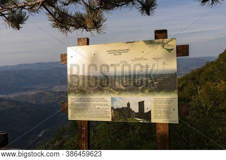 Tara Mountain, Serbia - September 16, 2020: Viewpoint Named Crnjeskovo, Tourist Board In National Pa