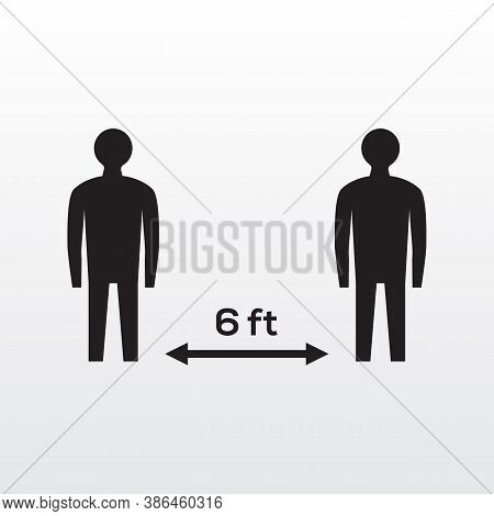 Social Distancing Icon. Black And White Silhouettes Simple Man Social Distancing Icon. Maintain Your