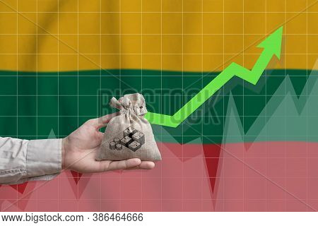 The Concept Of Economic Growth In Republic Of Lithuania. Hand Holds A Bag With Money And An Upward A