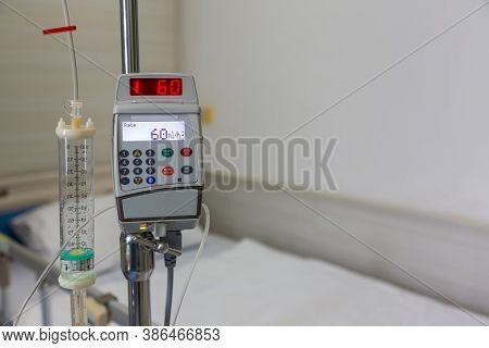 Saline Infusion Pump. Infusion Pump And Syringe Pump. Infusion Pump In The Hospital.
